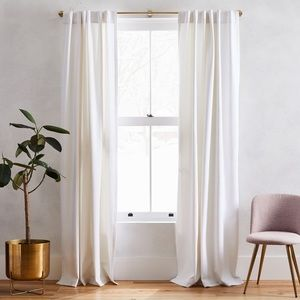West Elm Washed Cotton Canvas Curtain 96""